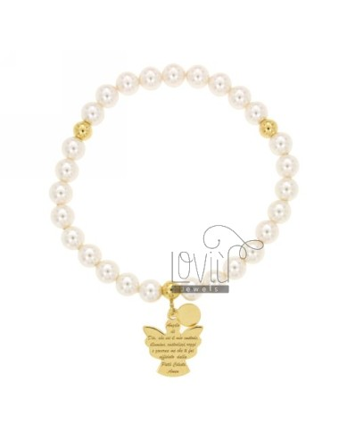 Bangle Bracelet 6 MM PEARL NECKLACE WITH ANGEL PRAYER A PLATE GOLD PLATED IN AG TIT 925 ‰