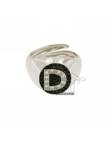 PINKY RING LETTER D WITH ZIRCONIA WHITE AND BLACKS IN SILVER RHODIUM TIT 925 ‰ MIS ADJUSTABLE 10