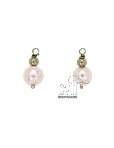 September 2 CHARM WITH BALL 4 MM AND PINK PEARL 8 MM DA AMMAGLIARE IN AG TIT RHODIUM 925