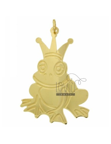 CHARM FROG PRINCE 56X37 MM SILVER GOLD PLATED TIT 925 ‰