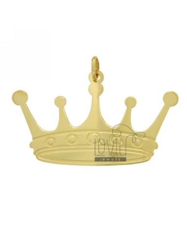 CHARM CROWN 52X32 MM SILVER GOLD PLATED TIT 925 ‰