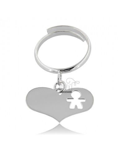 Pendant heart ring with...