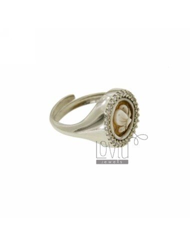 PINKY RING WITH CAMEO &quotPROFILE BUTTERFLY&quot MM 10 EDGE OF ZIRCONIA SILVER ROSE GOLD PLATED TIT 925 ‰ SIZE ADJUSTABLE