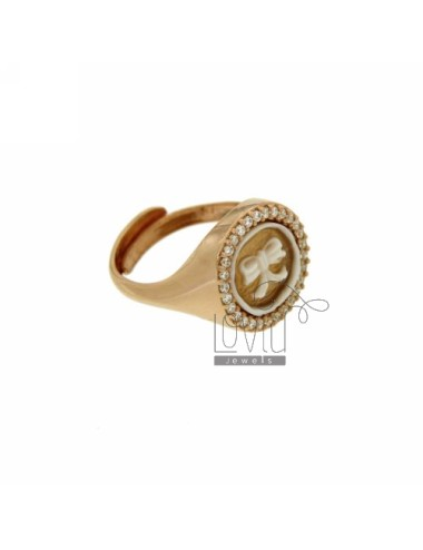 PINKY RING WITH CAMEO &quotBOW&quot MM 10 EDGE OF ZIRCONIA SILVER ROSE GOLD PLATED TIT 925 ‰ SIZE ADJUSTABLE