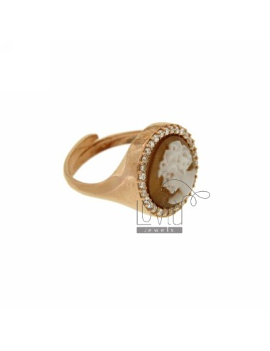 PINKY RING WITH CAMEO &quotDEA&quot MM 12 EDGE OF ZIRCONIA SILVER ROSE GOLD PLATED TIT 925 ‰ SIZE ADJUSTABLE