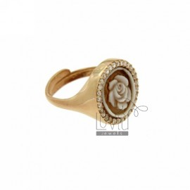 PINKY RING WITH CAMEO &quotROSA&quot MM 12 EDGE OF ZIRCONIA SILVER ROSE GOLD PLATED TIT 925 ‰ SIZE ADJUSTABLE