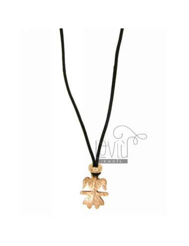 Pendant GIRL GIRL IN MM 18x13 AG PLATED ROSE GOLD IN AG TIT 925 ‰ WITH SILK CERATA