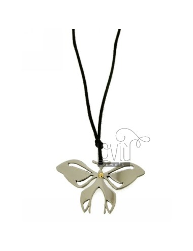 PENDANT BUTTERFLY MM 24x40 STEEL WITH POINT Bilamina BRASS AND GOLD WITH LACE SILK CERATA
