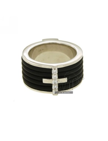 RING BAND 12 MM WITH RUBBER &39AND CROSS WITH ZIRCONIA SILVER RHODIUM TIT 925 ‰ MEASURE 17