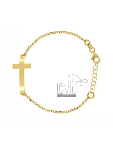 ROLO BRACELET &39CM 18 WITH CROSS IN CENTRAL GOLD PLATED TIT 925 ‰