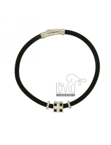 Bracelet in black rubber...