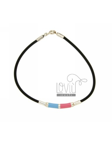 BRACELET RUBBER &39SMALATA TUBE WITH PLATE AND CLOSING IN SILVER TIT 925 ‰