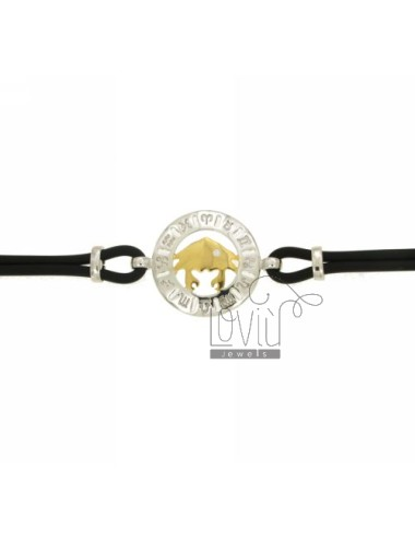 BRACELET RUBBER &39TORO WITH CANCER IN AG TIT 925 ‰ BICOLORE CM 18