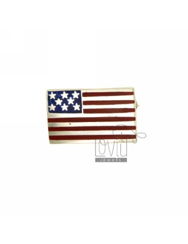 BROOCH VINTAGE AMERICAN FLAG 24x15 MM SILVER TIT 925 ‰ AND POLISH