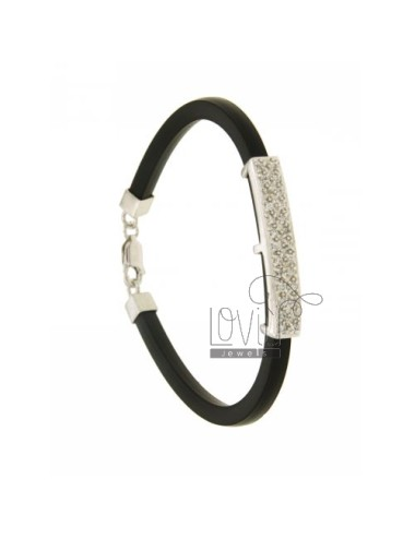 BRACELET RUBBER &39BLACK 4.5 MM WITH PLATE WITH PAVE&39 OF ZIRCONIA SILVER RHODIUM TIT 925 ‰