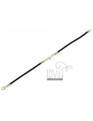 BRACELET RUBBER &39BLACK 3 MM TUBE WITH SNAKE CENTRAL AND CLOSING IN SILVER RHODIUM TIT 925 ‰ CM 19