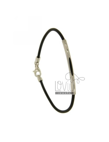 BRACELET RUBBER &39BLACK 2 MM TUBE WITH PLATE CENTRAL AND CLOSING IN SILVER RHODIUM TIT 925 ‰ CM 19