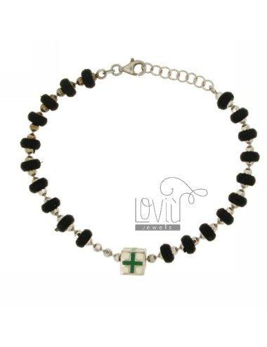 BRACELET RUBBER WASHERS &39MM 6 CUBETTO WITH CENTRAL GLAZED WITH ASSORTED COLORS IN SILVER RHODIUM TIT 925 ‰ CM 17.19