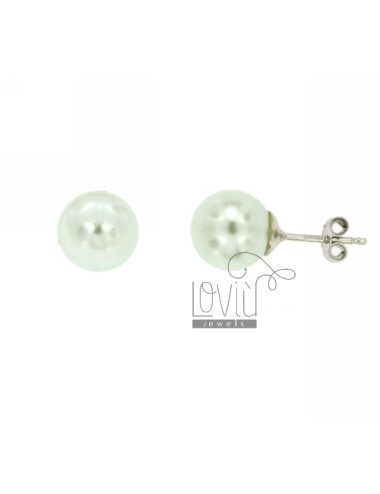 EARRINGS PEARL GREEN PASTEL A LOBO 10 MM SILVER TIT 925 ‰