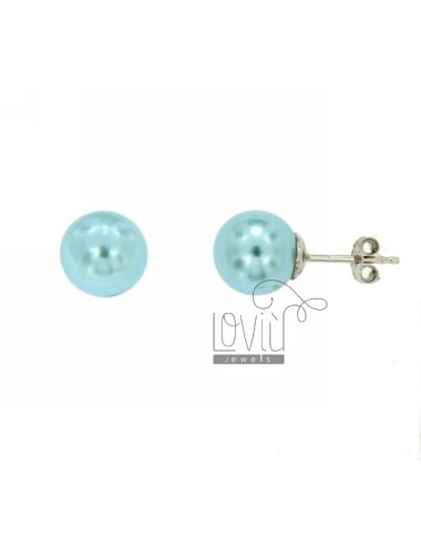 EARRINGS PEARL TURQUOISE A LOBO 10 MM SILVER TIT 925 ‰