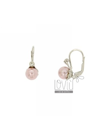 PEARL EARRING MONACHELLA ROSA MM 8 ZIRCONE AND SILVER RHODIUM TIT.