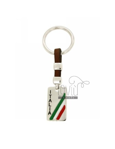 KEY SQUARE IN ITALY AG RODIATO 925 ‰ LEATHER AND POLISH