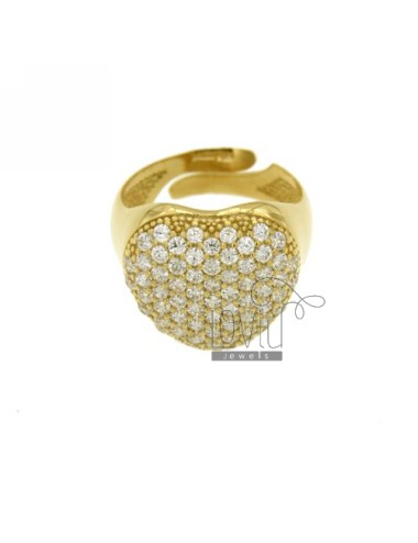 PINKY RING HEART WITH ZIRCON GOLD PLATED IN AG TIT 925 ‰ SIZE ADJUSTABLE