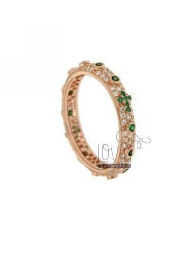 RING TYPE ZIRCONIA ROSARY WITH ROSE GOLD PLATED GREEN IN AG TIT 925 ‰ MIS 14