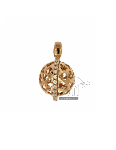 CALLED ANGELS PENDANT 18 MM WITH ANGELS PERFORATED IN AG TIT 925 ROSE GOLD PLATED AND ZIRCONIA