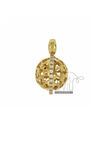 CALLED ANGELS PENDANT 18 MM WITH ANGELS GOLD PLATED PERFORATED IN AG TIT 925 E ZIRCONS
