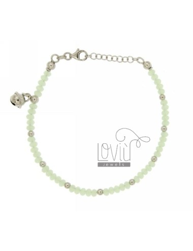 BRACELET WITH STONES HYDROTHERMAL PASTEL GREEN WITH BALLS AND SILVER RHODIUM bell TIT 925 ‰ CM 18.20