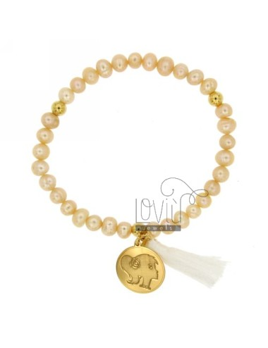ELASTIC BRACELET IN FACE OF WOMAN WITH PEARLS 17 MM IN GOLD PLATED TIT 925 ‰ AND PEARL