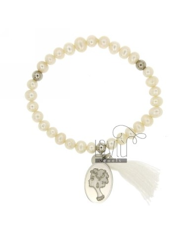 Bangle Bracelet PEARL WITH FACE OF WOMAN IN SILVER RHODIUM TIT 21x14 MM 925 ‰