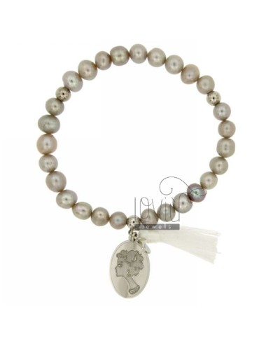 Bangle Bracelet PEARL GREY WITH FACE OF WOMAN IN SILVER RHODIUM TIT 21x14 MM 925 ‰