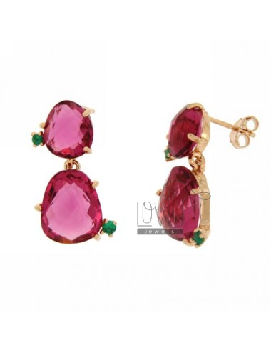 EARRINGS WITH HYDROTHERMAL STONES WITH DOUBLE STONE FUCSIA 16 WITH 40 SIDE GREEN ZIRCONIA IN ROSE GOLD PLATED AG TIT 925 ‰