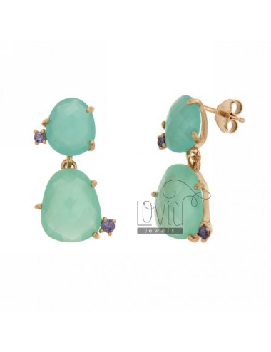 EARRINGS WITH TWO DOUBLE GREEN SILVER TIFFANY 20 STEPS WITH VIOLA SIDE VIEWS 13 IN PLATED RED GOLD TIT 925 ‰