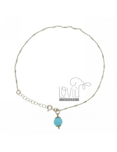 ANKLE MICRO CABLE AND TUBE WITH BALL TURQUOISE 8 MM SILVER RHODIUM TIT 925 ‰ CM 23 27 A STRETCH