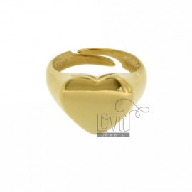 PINKY RING HEART GOLD PLATED SILVER 925 ‰ SIZE ADJUSTABLE