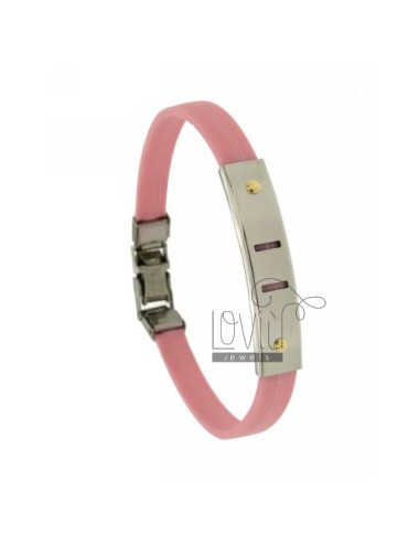 Pink rubber bracelet with...