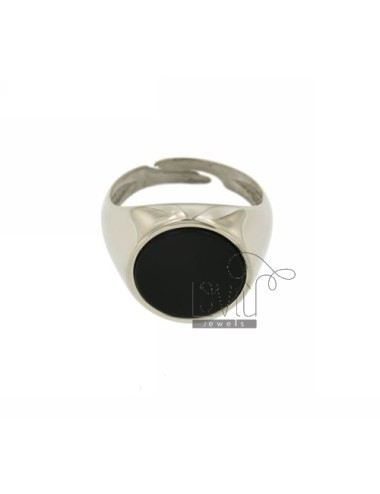 RING ROUND 17 MM WITH ONYX SILVER RHODIUM TIT 925 ‰ SIZE ADJUSTABLE