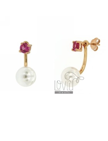 EARRING DOUBLE POINT LIGHT PINK 16 AND 10 MM PEARL SILVER ROSE GOLD PLATED TIT 925 ‰