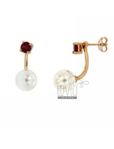 EARRING DOUBLE POINT LIGHT RED 57 AND 10 MM PEARL SILVER ROSE GOLD PLATED TIT 925 ‰