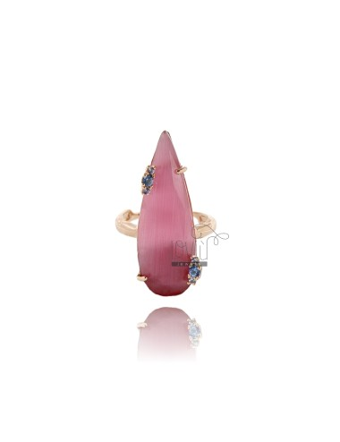 RING IN DROP IN STONE HYDROTHERMAL ROSA 11 ZIRCONS PAPER AND SUGAR 28 SILVER ROSE GOLD PLATED TIT 925 ‰ SIZE ADJUSTABLE
