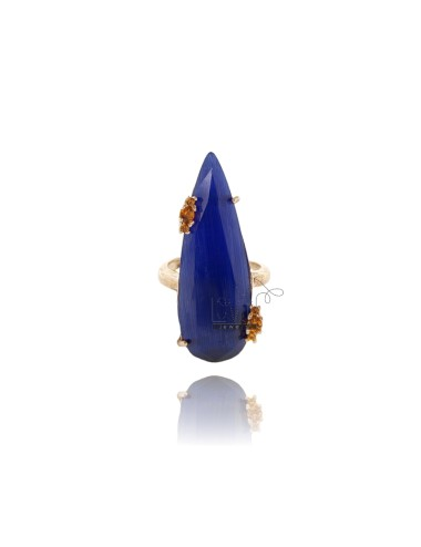 RING IN DROP IN BLUE STONE HYDROTHERMAL 60 E ZIRCONIA YELLOW 3 SILVER ROSE GOLD PLATED TIT 925 ‰ SIZE ADJUSTABLE