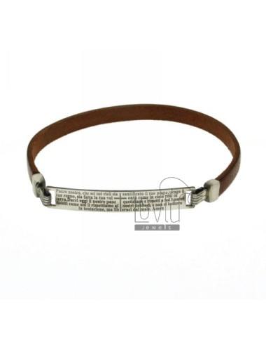 BRACELET BROWN LEATHER WITH PLATE OUR FATHER MM 43X7 SILVER BRUNITO TIT 925 ‰