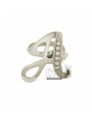 RING A LETTER ITALICS MM 30X20 SILVER RHODIUM TIT 925 ‰ AND ZIRCONIA