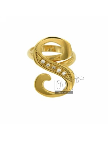 RING S LETTER ITALICS MM 30X20 SILVER GOLD PLATED TIT 925 ‰ AND ZIRCONIA