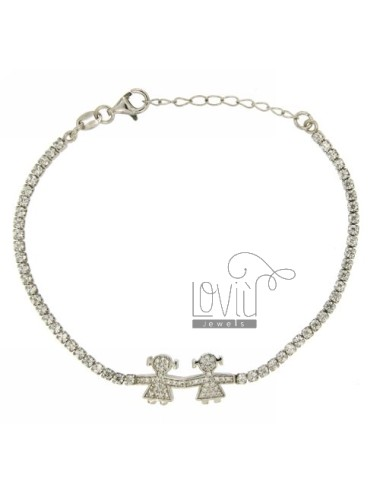TENNIS BRACELET WITH GIRL.GIRL AND ZIRCONIA IN AG TIT RODIATO 925 ‰ CM 17.20