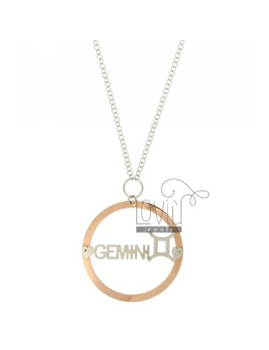 ROLO CHAIN &39CM 85 WITH CHARM ROUND MM 56 ZODIAC GEMINI SILVER PLATED RHODIUM AND ROSE GOLD TIT 925 ‰