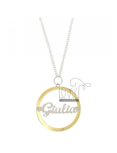 ROLO CHAIN &39CM 85 WITH CHARM ROUND MM 56 GIULIA IN SILVER AND GOLD PLATED RHODIUM TIT 925 ‰